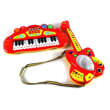 Musical Toy Guitar & Keyboard Instrument Combo Set, Easy for Kids to Handle, Plays Music and Makes Animal Sounds (Colors May Vary) ()