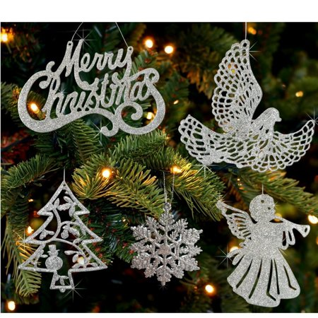 Assorted Silver Christmas Ornaments - Pack of 78 silver and white glitter ornaments - Merry Christmas, angels, doves, xmas trees and snowflakes.., By Banberry Designs Ship from US - White Snowflake Ornaments