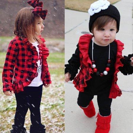 Inverted Pleat Coat - Cute Baby Kids Girl Plaid Jacket Sweatshirt Long Sleeve Top Pleated Jacket