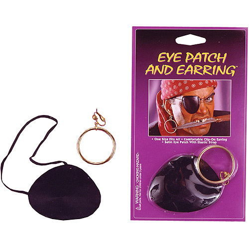 Satin Eye Patch with Earring Adult Halloween Accessory