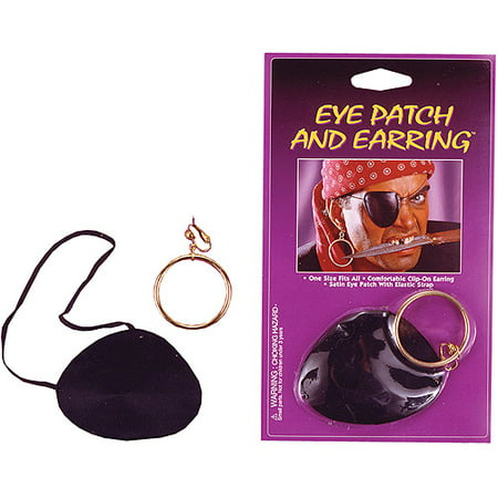 Satin Eye Patch with Earring Adult Halloween Accessory - Eye Contact Halloween