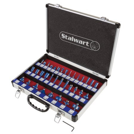 Stalwart Router Bit Set With 35-Piece Kit And 1/4-Inch Shank And Storage -