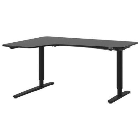 Ikea Corner desk left sit/stand, black-brown, black -