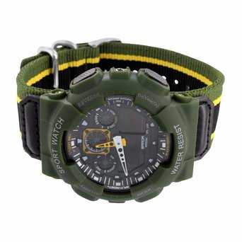 Green Shock Resistant Watch Mens Army Sports Wrist Watch Gift Digital Analog New