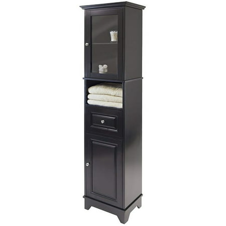 BOWERY HILL Tall Bathroom Storage Cabinet with Glass Door, Adjustable Top Shelf and Drawer - Fits Tight Corners and Narrow Space, Solid Wood in Black ()