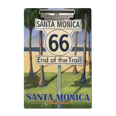 Route 66 - End of Trail Sign - Palm Trees - Lantern Press Artwork (Acrylic -