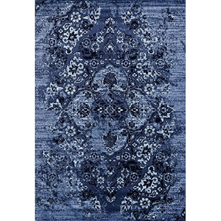 Persian Rugs 4620 Distressed Denim 5x7 Area Rug Large Carpet