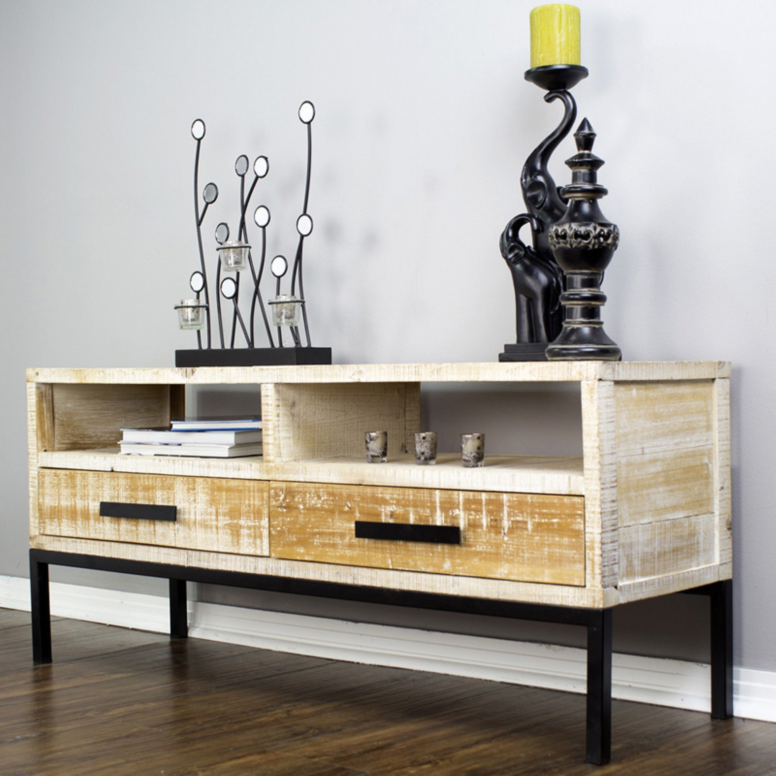 Heather Ann Creations Dillon 2 Shelf 2 Drawer TV Stand - Distressed Wood