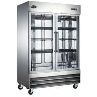 Heavy Duty Commercial Stainless Steel 47 cu ft Glass Door Reach-In Refrigerator (2 Door)