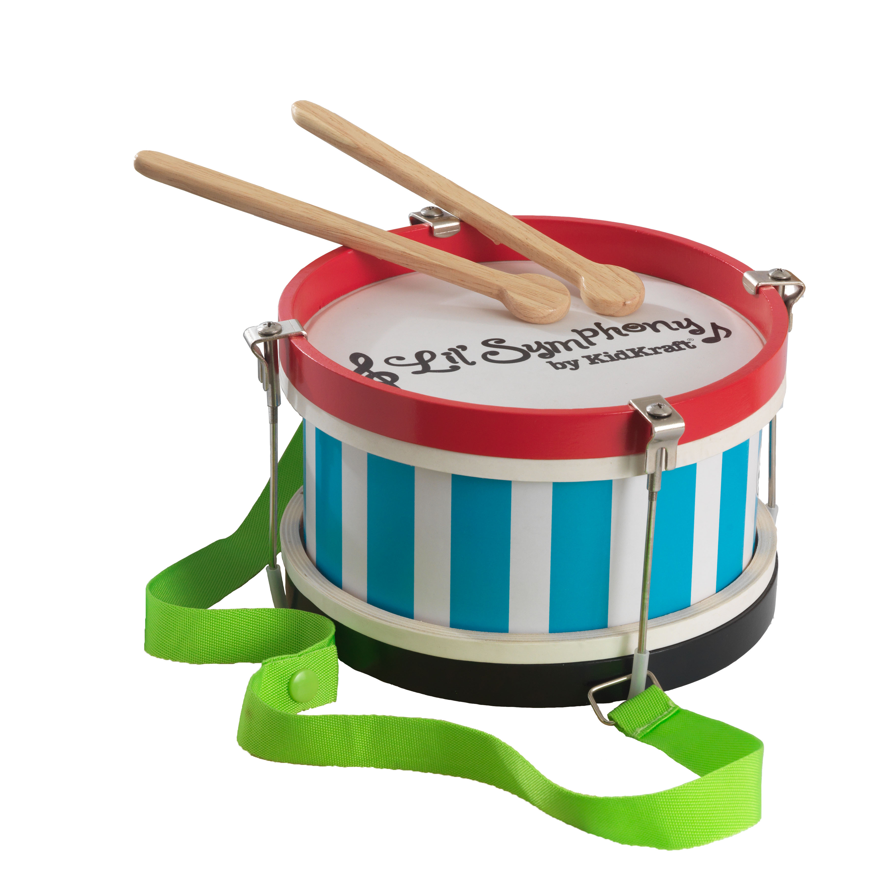 KidKraft Lil' Symphony Wooden Drum and Drumsticks Children's Musical Instrument Toy with Strap