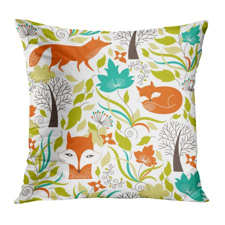 BOSDECO Green Fox Foxes Orange Flower Fall Pattern Graphic Whimsical Pillow Case Pillow Cover 16x16 inch - image 1 of 1
