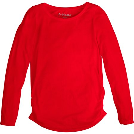 Hanes Girls' Shirred Solid Long-Sleeve Tee Hanes Girls' Shirred Solid Long-Sleeve T shirt 60% rayon/40% polyester. Super soft fabric blend feels great against her skin and drapes like a dream. Shirred sides for added style. High/Low shirttail hem gives her more coverage in the back. Tag-free for itch-free comfort. Machine wash cold with like colors. Remove promptly. Use only non-chlorine bleach when needed. Tumble dry low. Cool iron if needed.