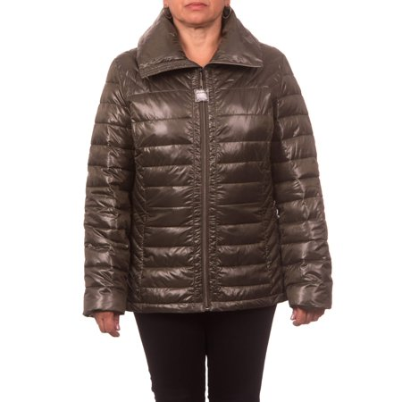 Women's Plus Size Down Blend Quilted Jacket with Convertible Collar (Extreme Collar Coat)