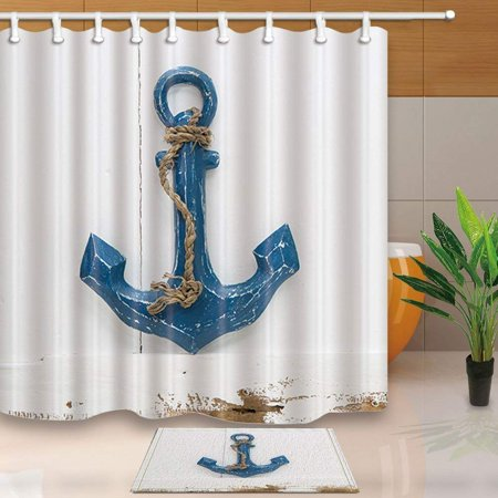 ARTJIA Nautical Decorations Retro Blue Anchor on Vintage Wooden Shower Curtain 66x72 inches with Floor Doormat Bath Rugs 15.7x23.6 inches