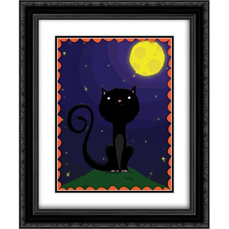 Halloween Cat 2x Matted 20x24 Black Ornate Framed Art Print by Grey, Jace - Black Cat Halloween Clip Art