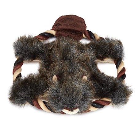 Fuzzy Fur Flyer Dog Toys Plush & Rope Fetch Toy Choose Bunny Beaver or Chipmunk(Beaver)