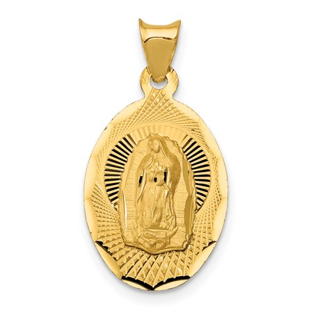 14k Yellow Gold Lady Of Guadalupe Oval Pendant Charm Necklace Religious Medal Our Gifts For Women For Her
