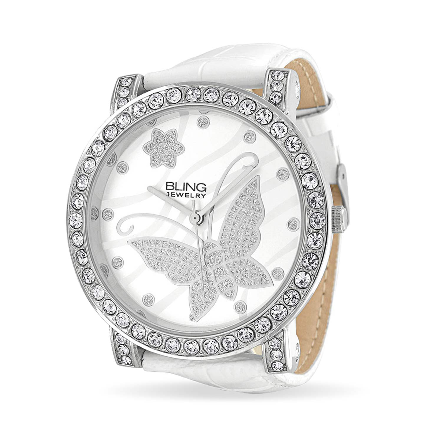Bling Jewelry Womens CZ Flower Butterfly White Leather Steel Back Watch
