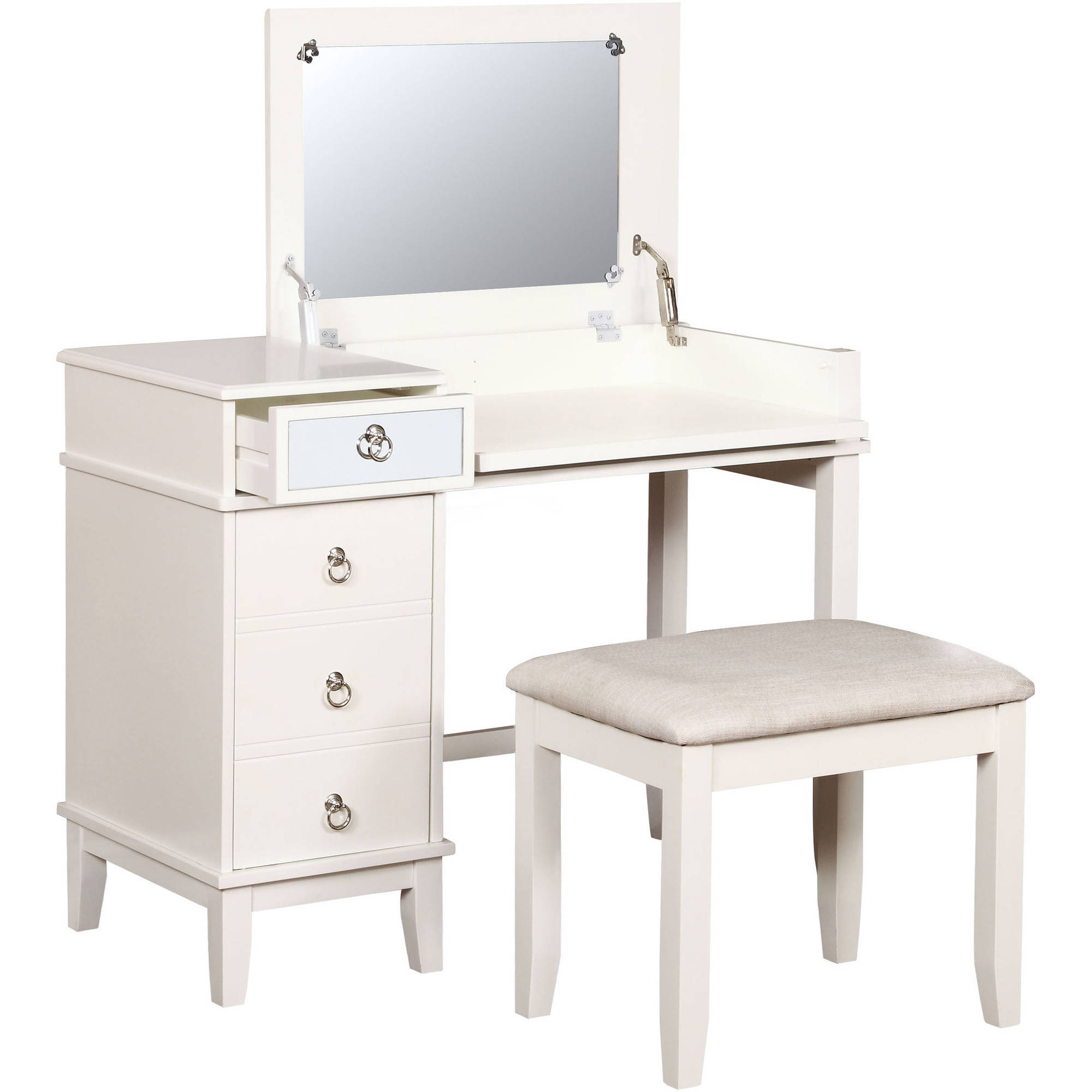 Linon Eva Vanity Set including Mirror and Stool, White, 18 inch Stool Height