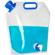 Plannu Collapsible Water Container, BPA Free Food Grade Clear Plastic Water Jug with Spout for Sport Camping Riding Hiking, Foldable Emergency Water Bottle