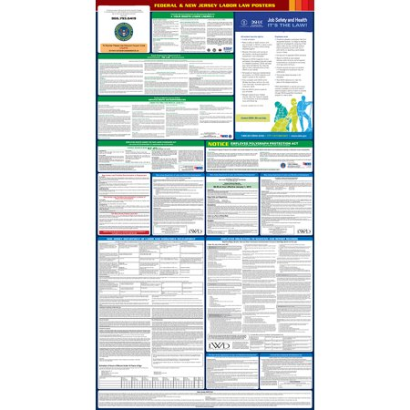Compliance Assistance  2018 New Jersey State And Federal All In One Labor Law Poster  Up To Date  Thick Lamination  Compact  Osha Compliant