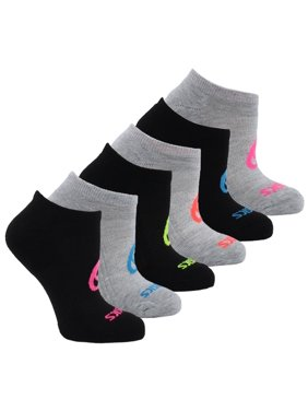 Asics Womens Invasion No Show 6-Pack Running Athletic Socks Socks - Black M