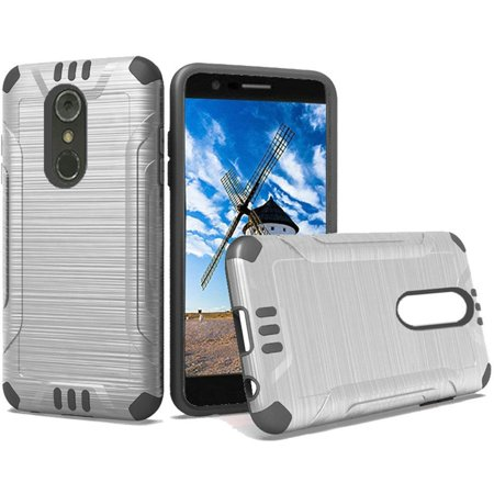 LG Stylo 4 Stylo 4 plus Case, by Insten Slim Armor Dual Layer Hybrid  Brushed PC/TPU Rubber Case Cover For LG Stylo 4 Stylo 4 plus - Silver/Black