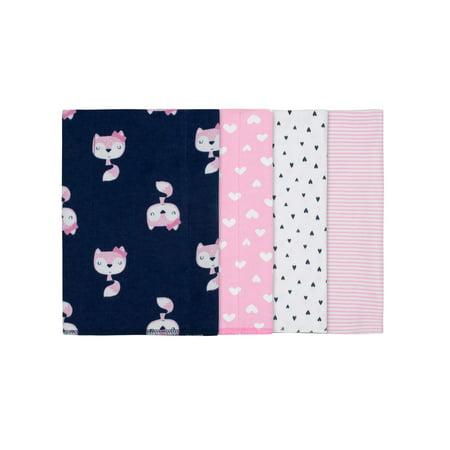 Gerber Assorted Flannel Burp Cloth Set, 4pk (Baby Girls)