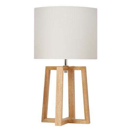 "Mainstays Wood Geometric Base Table Lamp with Shade, 17.75"" H"