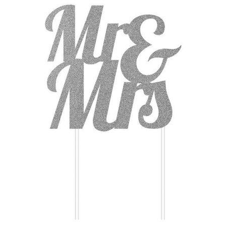 Creative Converting Silver Glitter Mr & Mrs Cake