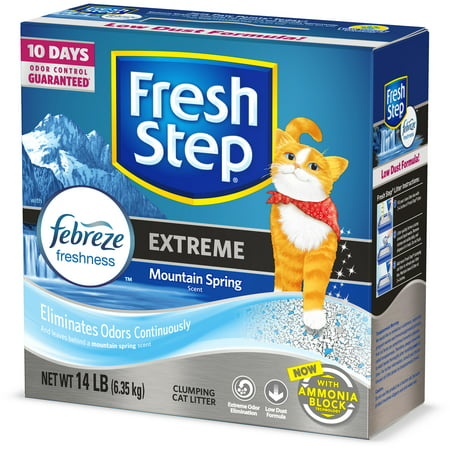 Fresh Step Extreme Scented Litter with the Power of Febreze, Clumping Cat Litter - Mountain Spring, 14 - Kitty Cat Gym