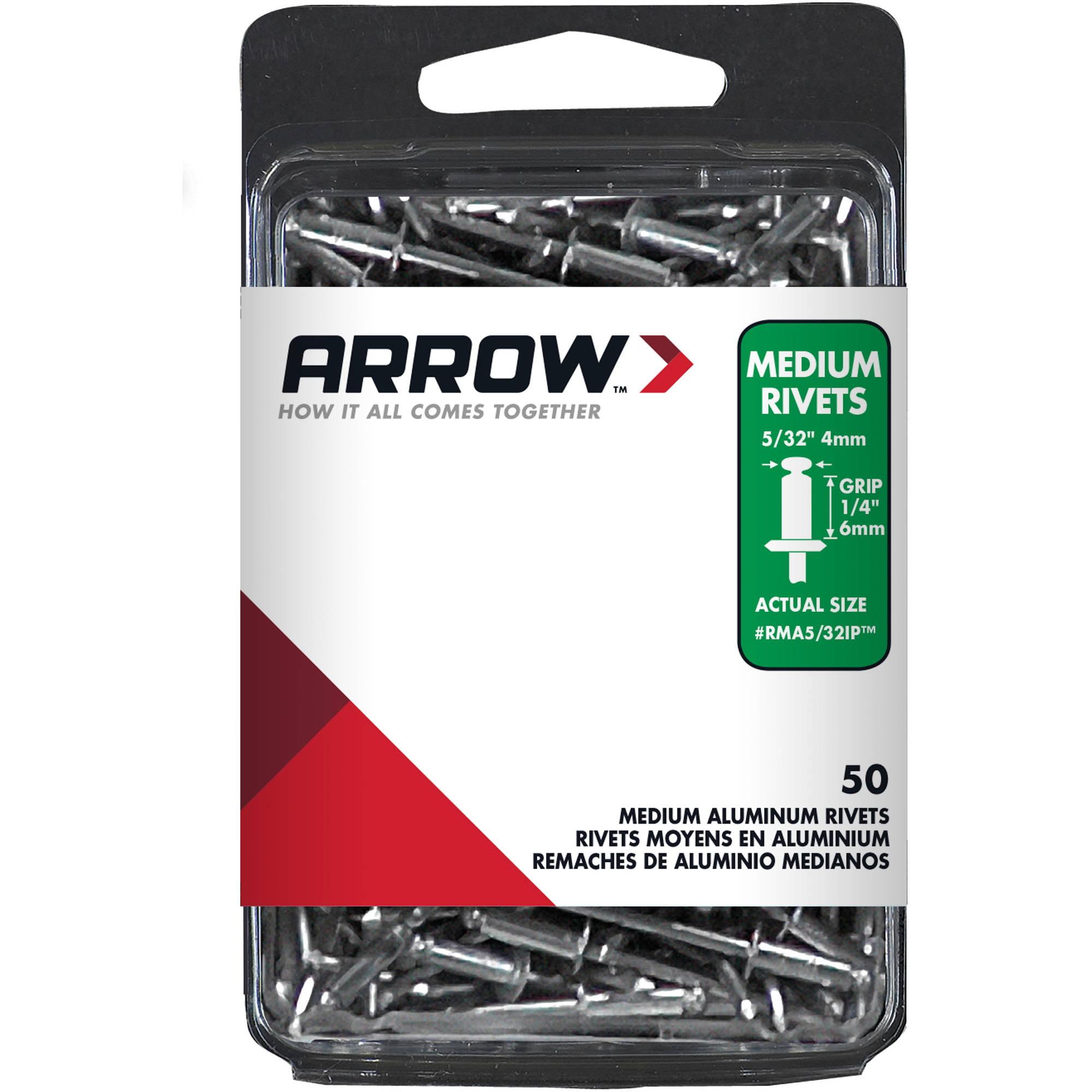 "Arrow Fastener Medium Aluminum Industrial Pack 5/32"" Diameter Rivets"