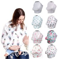 Nursing Cover Breast Feeding Privacy Cover- Baby Car Seat Canopy - Nursing Pads, Pouch & Gift Pack Set - Shopping Cart, Stroller, Carseat Covers for Girls and Boys - Best Multi-Use