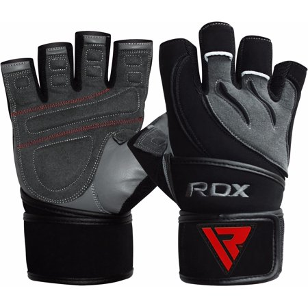 RDX Leather Men's Gym Weight Lifting Gloves Training Bodybuilding Fitness