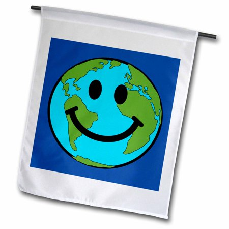 Eco Friendly Garden - 3dRose Planet Earth Smiley Face - Happy World Globe Earth day - Smilie for Peace Eco friendly green symbol - Garden Flag, 12 by 18-inch