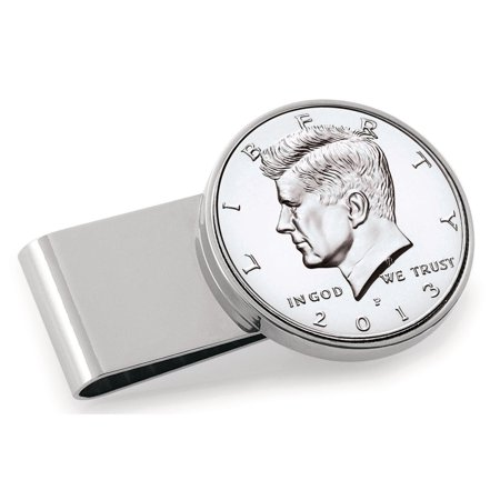 American Coin Treasures  Stainless Steel JFK Half Dollar Money Clip Coin Hinged Money Clips