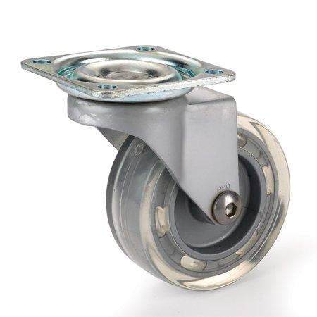 Skate Wheel Casters with Flat Tread Wheel, Translucent, Non-Brake, 2-1/2