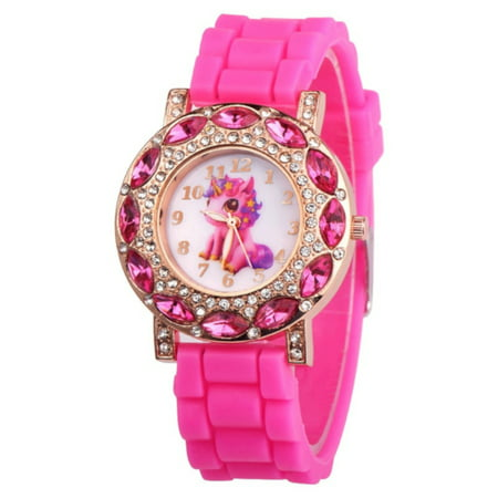 New Design Unicorn Crystal Pink Stones Glow in the Dark Hands Watch-268-P