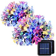 2 Pack Solar Strings Lights, Christmas Lights 23 Feet 50 LED Flower Solar Fairy Lights, Garden Lights for Outdoor, Home, Lawn, Wedding, Patio, Party and Holiday Decorations- Multi Color