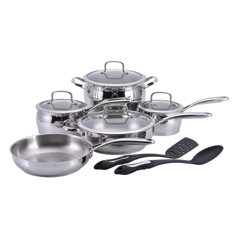 Hamilton Beach 12pc Stainless Steel Cookware Set, 18 10 Stainless Steel, Belly Shape, Cast S S Handle by Supplier Generic