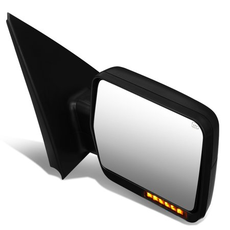 Glass Turn Signal Mirrors - For 2004 to 2014 Ford F150 Black Powered Heated Glass + Turn Signal Light Side Towing Mirror (Right / Passenger)