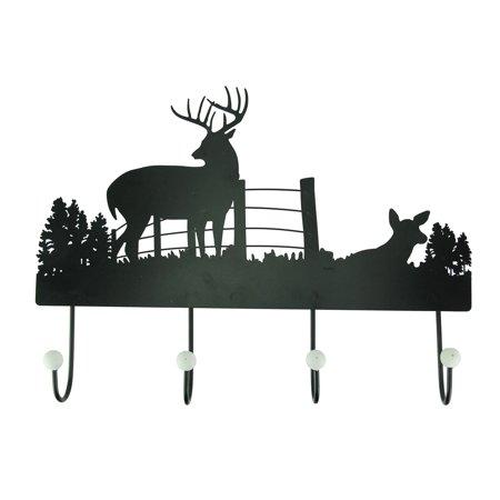 Black Rustic Metal Deer Silhouette Wall Hook