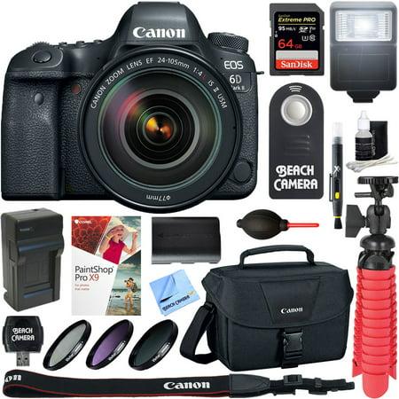 Canon EOS 6D Mark II 26.2MP Full-Frame Digital SLR Camera with 24-105mm IS II USM Lens + 64GB Accessory