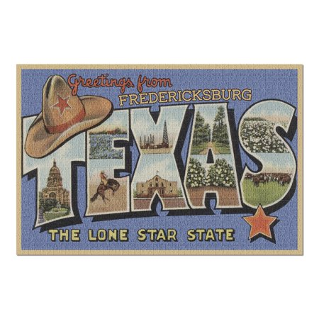 Fredericksburg, Texas - Greetings From The Lone Star State - Large Letters - Postcard (20x30 Premium 1000 Piece Jigsaw Puzzle, Made in USA!) Postcard State Large Letter