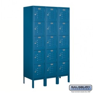 Standard Metal Locker - Five Tier Box Style - 3 Wide - 5 Feet High - 15 Inches Deep - Blue - Assembled