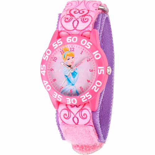 Disney Cinderella Girls' Plastic Watch, Pink Strap