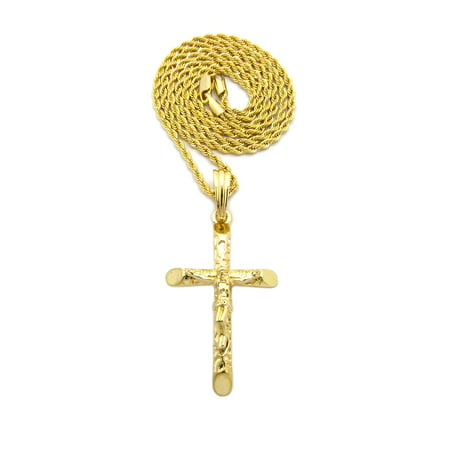 "Crucifix Jesus on Rugged Cross Pendant with Chain Necklace - 2mm 24"" Gold-Tone Rope Chain"