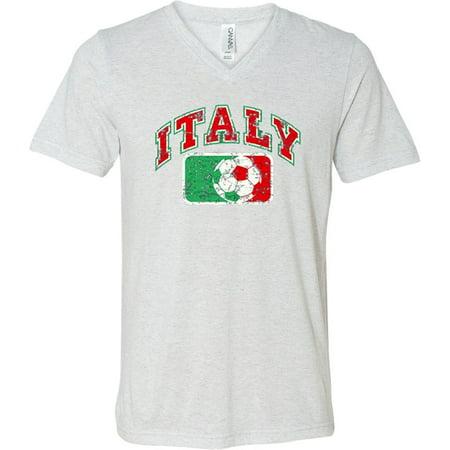 Mens Italy Italia Soccer Futbol V-neck Tee - White Fleck, Small