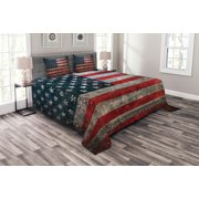 American Flag Bedspread Set, Royalty Flag Textured US Backdrop on Damaged Board Plate Design Artwork Print, Decorative Quilted Coverlet Set with Pillow Shams Included, Red Grey, by Ambesonne