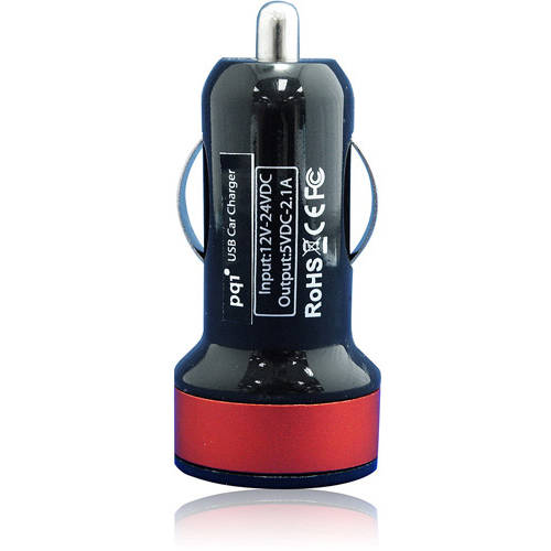 PQI i-Charger Du-Plug Car Charger with Double-Header Design of Lightning Cable and microUSB